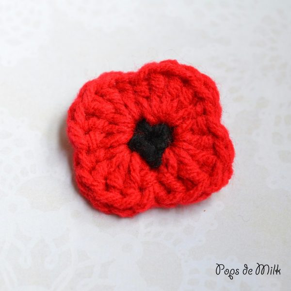 Crochet Remembrance Day Poppy Pops De Milk