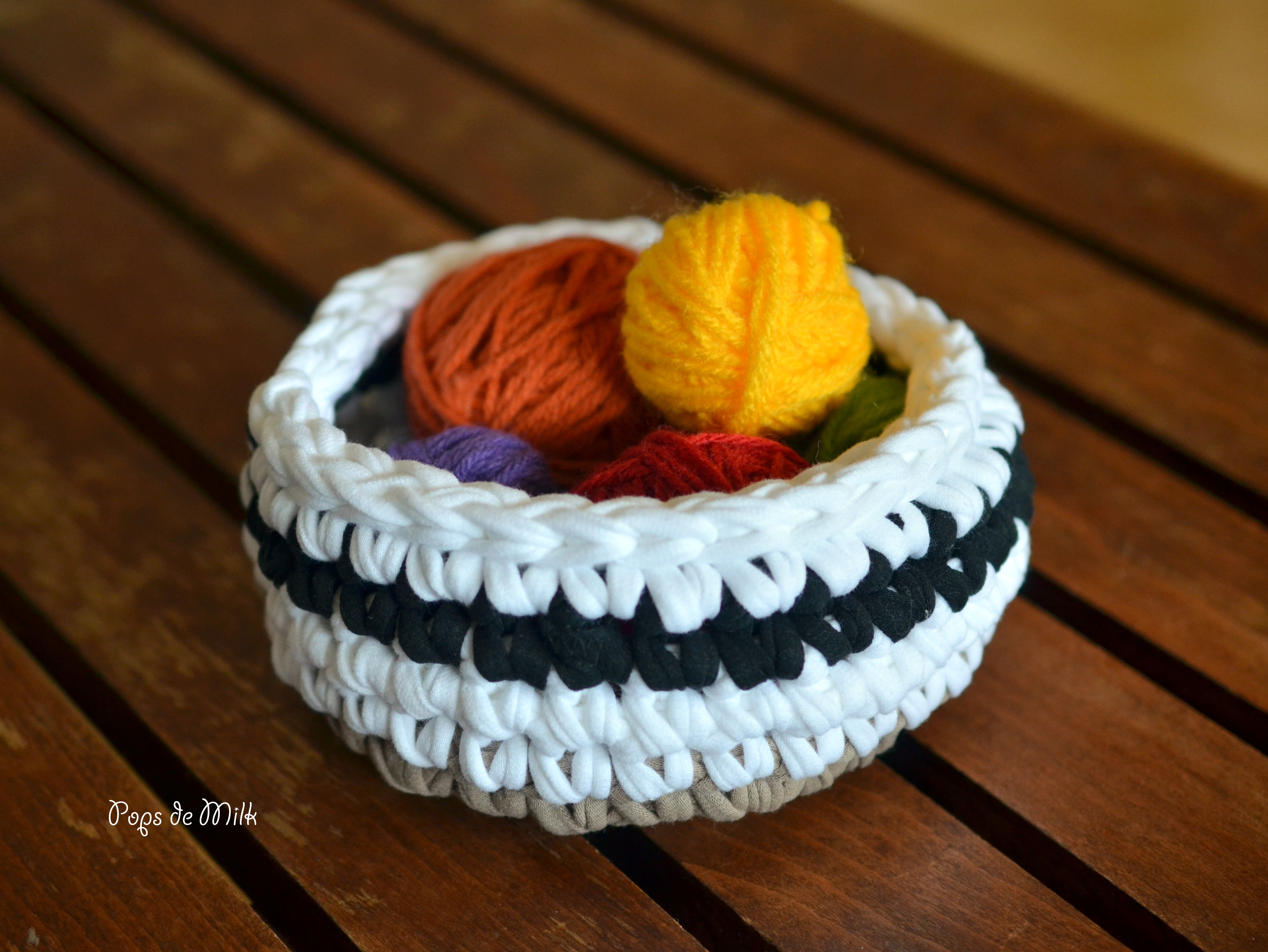 Crochet Tshirt Yarn Bowl - Pops de Milk