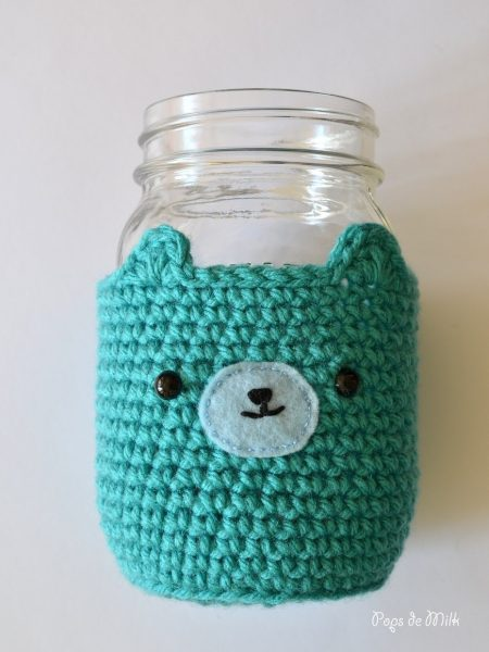 Bear Mason Jar Cozy Pattern - Pops de Milk