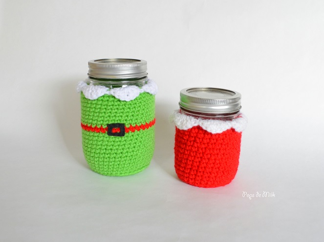 christmas elf mason jar cozy